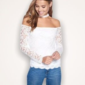 AMBIANCE White Lace Off-The-Shoulder Choker Top